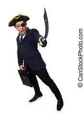 serviette, isolé, une, observé, épée, blanc, pirate