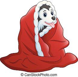 serviette, mignon, peu, dessin animé, chien, rouges