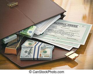 serviette, or, liens, concept., argent., capital, portefeuille, stocks, marché, stockage