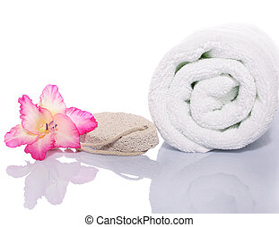 serviette, pierre ponce, gladiola, fond, rocher, blanc