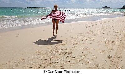 serviette, plage, drapeau américain