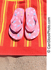 serviette, sandales, plage