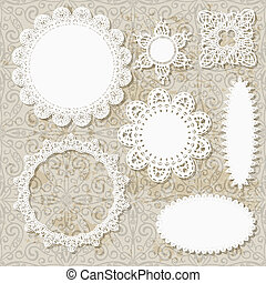 serviette, seamless, motifs, vecteur, conception, fond, dentelle, grungy, album