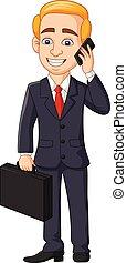 serviette, téléphone, conversation, tenue, homme affaires, dossier, dessin animé