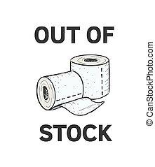 serviette, vendu, main, dehors., dehors, toilette, stock., illustration., papier, vecteur, achats, graphique, crisis., dessiné