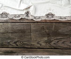 serviette, vieux, table cuisine, plié, dentelle, blanc, textile, conseils bois, gris
