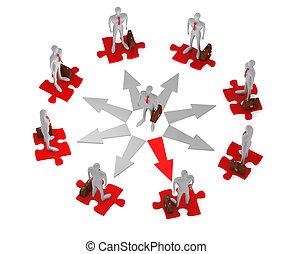 serviettes, avant, homme affaires, choix, entouré, puzzles, cercle, 3d, personnes