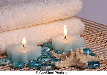 serviettes, bougies