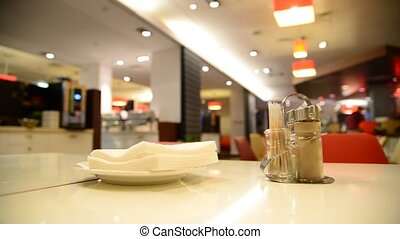 serviettes, table café, poivre