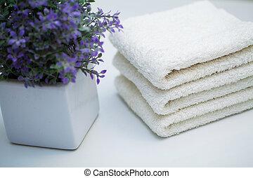 serviettes, table, fond, blanc, baignez salle