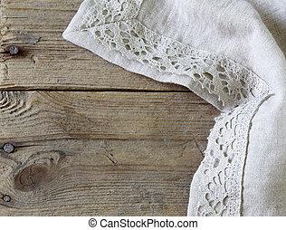servilleta, plano de fondo, de madera