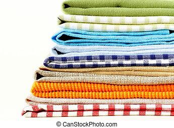 servilletas, pila, colorido, cocina