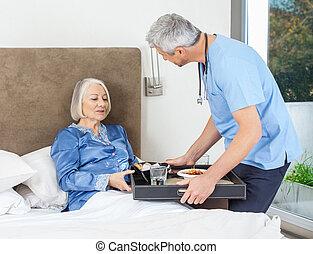 servindo, cama, mulher sênior, enfermeira, pequeno almoço