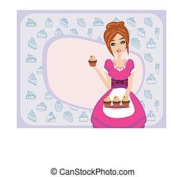 servindo, cupcakes, dona de casa, chocolate