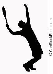 servindo, desporto, -, jogador, tênis, silueta