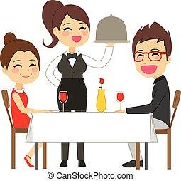 servindo, garçonete, restaurante