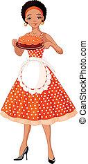 servindo, jovem, bolo, senhora