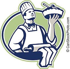 servindo, padeiro, torta, cozinheiro, retro, cozinheiro