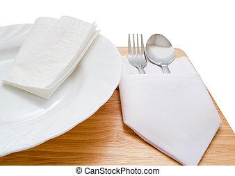 servindo, prato jantar