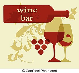 servindo, silhuetas, garrafa vinho, vidro