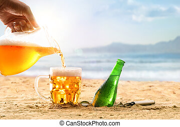 Serving a glass of beer from a mug on beach