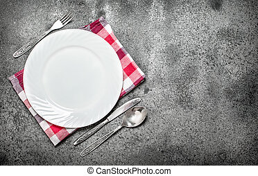 Serving background. Plate with Cutlery.