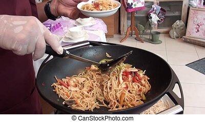 Serving Chinese pasta