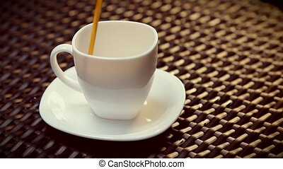 Serving coffe on white cup. HD 1080