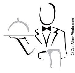 Serving dinner - Elegant waiter bringing dish on a tray