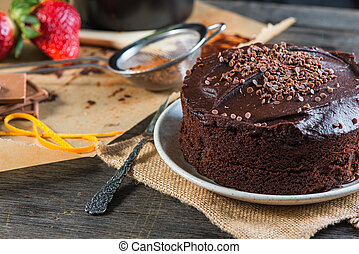 serving homemade chocolate cake