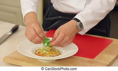 Serving minestrone vegetable soup