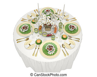 Serving of a festive table on a white background. 3d...
