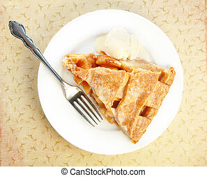 Serving of Apple Pie with Ice Cream