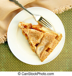 Serving of Apple Pie with Lattice Top
