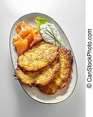 Serving of crispy golden fried potato fritters - Serving of ...