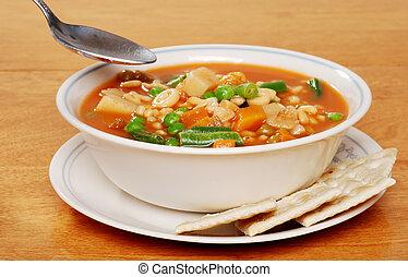serving of vegetable soup
