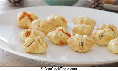 Serving Pastry Tapas - Savory stuffed puffed pastry tapas...