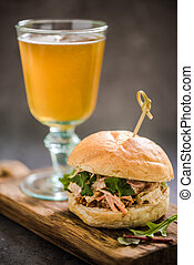 serving pub food, pork bap with cider - serving pub food, ...