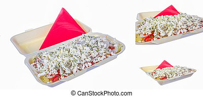 serving salad with red napkin