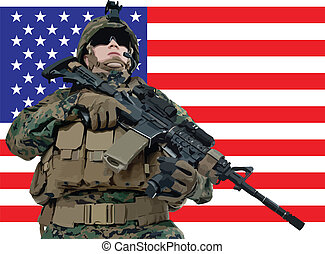 Vector illustration of an american soldier in front of the USA flag