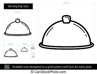 Serving tray line icon.