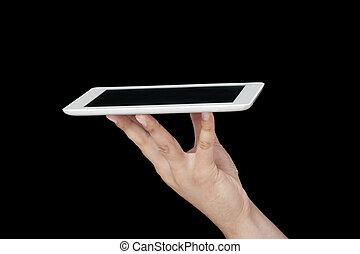 serving with digital tablet