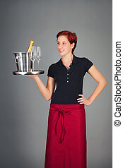 servir, champagne, serveuse