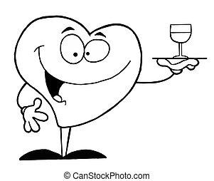 servir, coeur, vin, contour