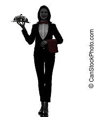 servir, dîner, silhouette, serveur, femme, maître d'hôtel