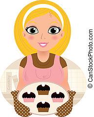 servir, femme, nourriture douce, &, retro, (, brun, blonds, cuisine, ), rose