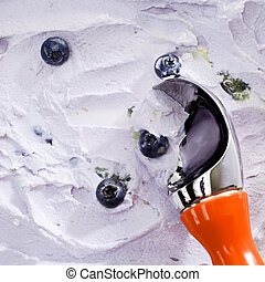 servir, gelo, concha, fim, mirtilo, creme
