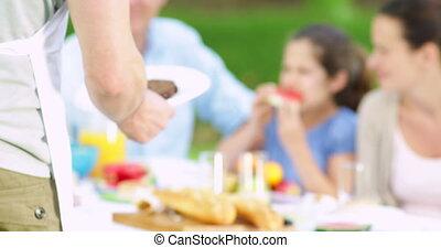 servir, hamburgers, sien, père, famille