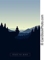servir médiateur, paix, esprit, falaise, personne, forêt
