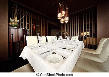 servir, vide, table, nappe, confortable, restaurant, beau, blanc